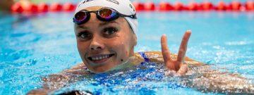 Victory - Sieg: Jessica Steiger gewann bei der DM in Berlin wie schon in 2016 und 2017 die Goldmedaille über 200 Meter Brust. Außerdem holte die 26-Jährige jeweils Silber über 50 und 100 Meter Brust.